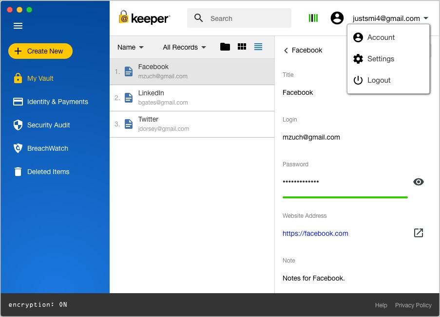 Keeper Export